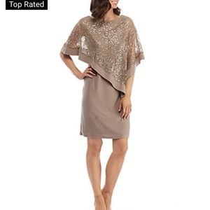 NWT R&M Richards Sequined Lace Poncho Dress